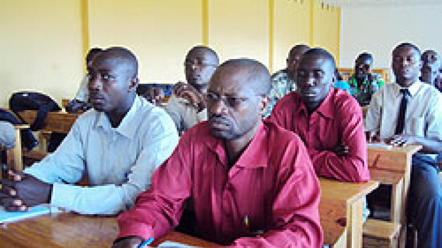 A cross section of  teachers  undergoing a training on the new disaster management module.  photo The New Times /  JP. Bucyensenge