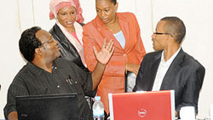 PAC Chairman Juvenal Nkusi (left) and other committee members. The New Times /File.