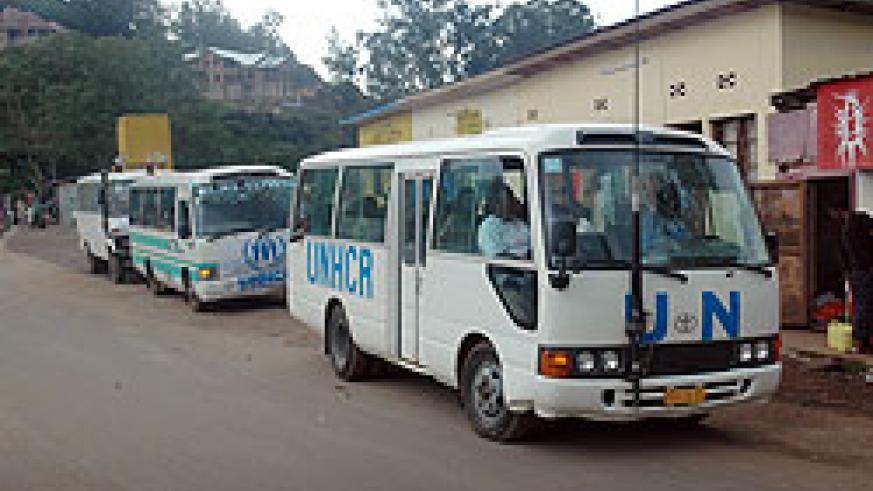 UNHCR buses ferrying refugees from DRC recently. More are expected to return to the country tomorrow. The New Times / File.