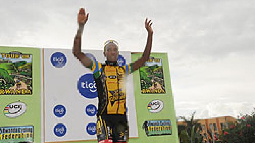 Niyonshuti finished 4th in yesterday's stage. The New Times / J. Mbanda.