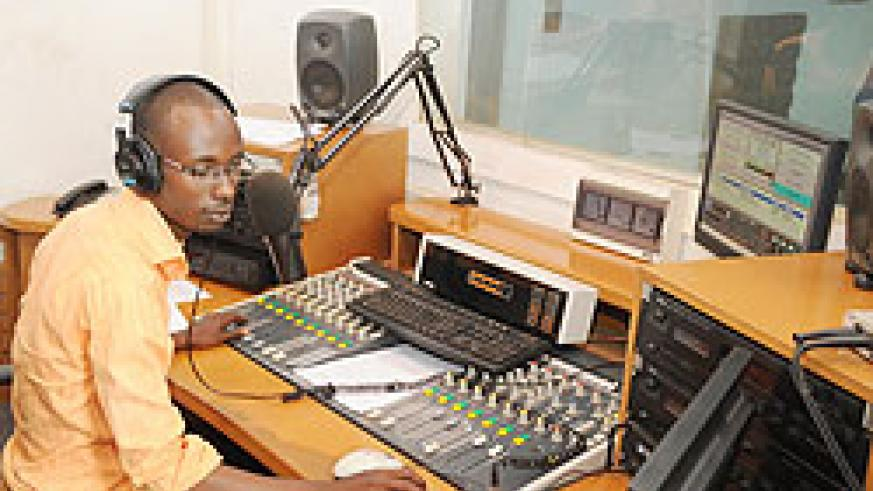 One of Kigali's top radio presenters  identified as Spike at work. The New Times /File.