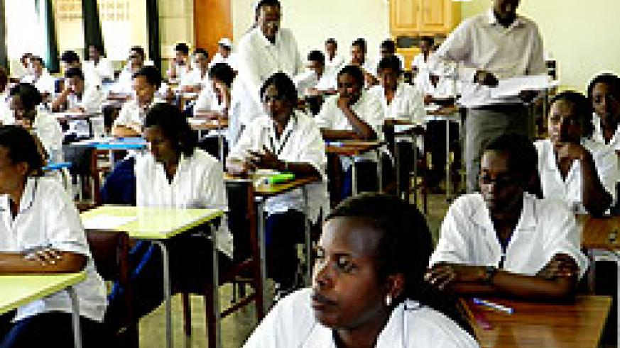 Nursing and midwifery students in an examination room. The New Times / S. Rwembeho.