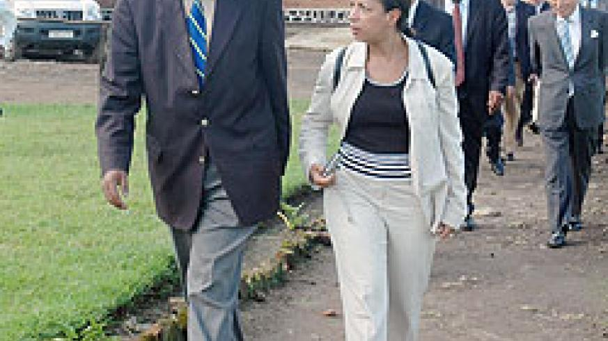 Susan Rice (R) talks to Jean Sayinzoga, Chairman Rwanda Demobilisation and Reintegration Commission on a tour of Mutobo Reintegration Centre during her last visit in 2009. The New Times / File.