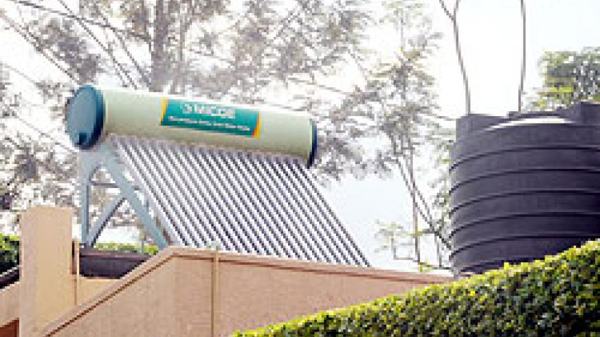 A Solar water heater on top of a building. EWSA has introduced the heaters as a way of saving energy.The New Times, John Mbanda.
