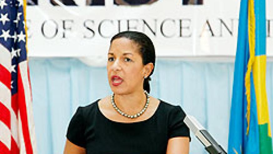 The United States Permanent Representative to the UN, Ambassador Susan E. Rice addressing government officials and academics at KIST. The New Times /Timothy Kisambira