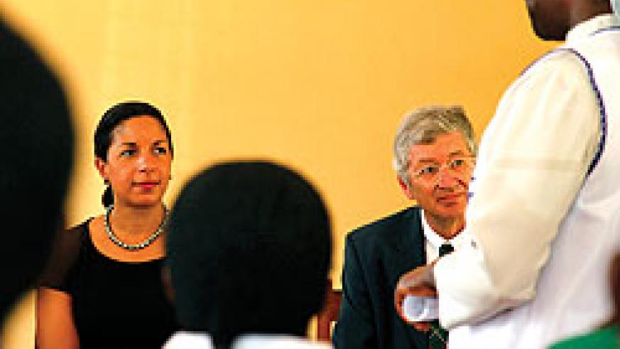 Susan Rice (in black) listens to a presentation from the healthcare service providers at the Masaka centre. The New Times / T. Kisambira