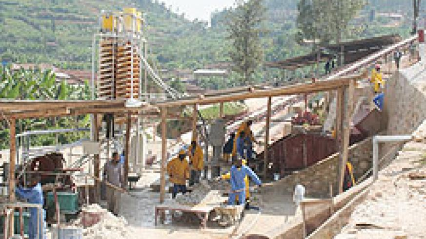 A mineral processing facility in Gatumba. Mining revenues are this year expected to increase by over 50 percent.