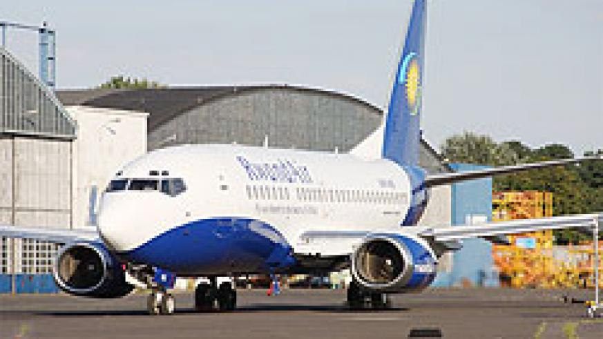 A RwandAir aircraft at the Kigali Interrnational Airport. The New Times  / File photo