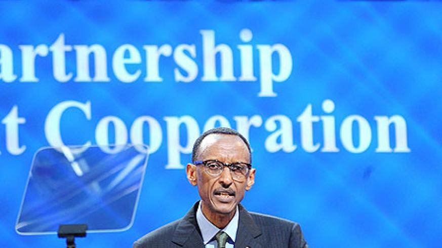 President Kagame delivers the Keynote Speech at the High Level Forum on aid effectiveness in Busan, Korea, yesterday. The New Times / Village Urugwiro.