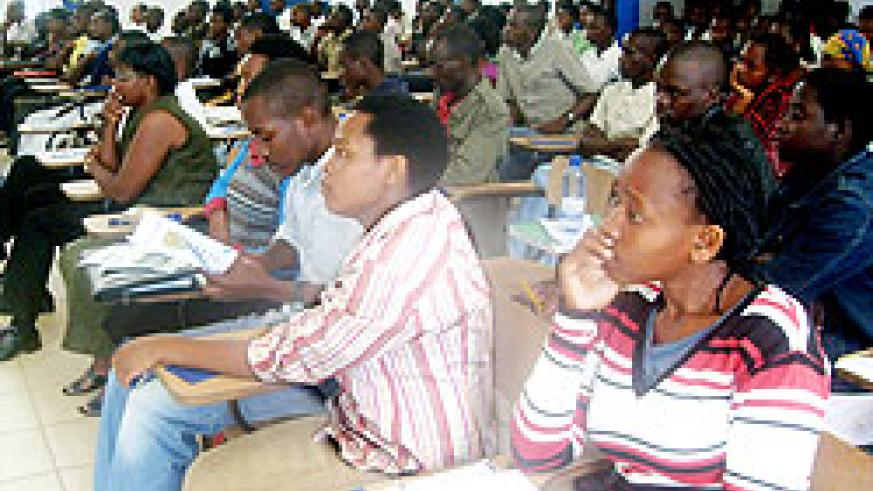 A cross section of SFB students keenly listen to proceedings during the varsity's Career Day conference yesterday. The New Times / G. Mugoya