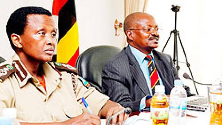 Mary Gahonzire, the Deputy Commissioner General Rwanda Correctional Services with her Ugandan counterpart, James Mwanje, the Deputy Commissioner of UPS during a meeting early this week. . The New Times/File.