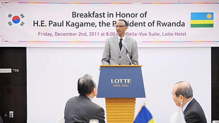President Kagame speaking at the breakfast, yesterday. The New Times / Village Urugwiro.