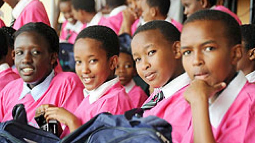 Some of the top performing girls previously rewarded. Imbuto Foundation has helped girls achieve their dreams. The New Times/File