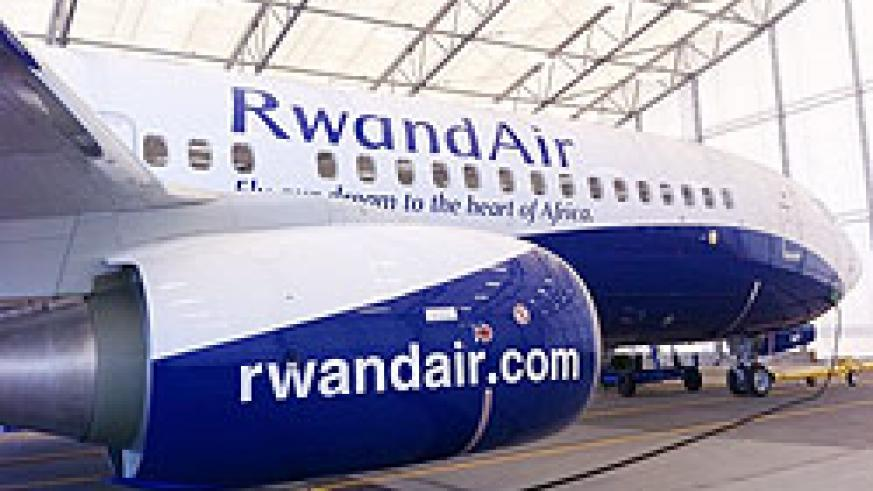 New RwandAir's Boeing 737-800. The launch of a direct flight to Mumbai will open up further trade opportunities. The New Times / File.