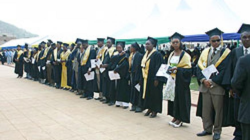 A graduation ceremony of one of the local universities. Companies have been urged to strengthen internship programmes for their staff. The New Times/ File.