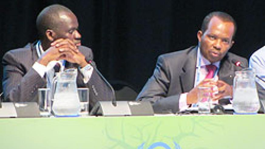 Natural Resources Minister, Stanislas Kamanzi, and Rwanda's envoy in South Africa, Vincent Karega, during their meeting in Durban yesterday.