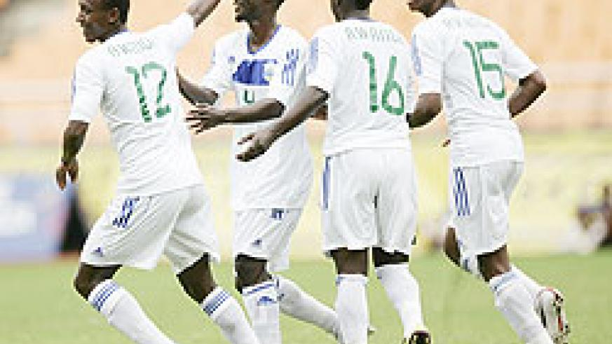 Amavubi players celebrate their winning goal against Sudan. The New Times / File.