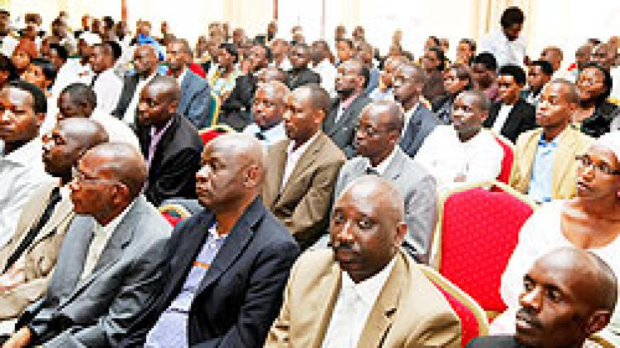 Some of the judges during their meeting yesterday. They have identified lack of experience as a major challenge. The New Times / T. Kisambira