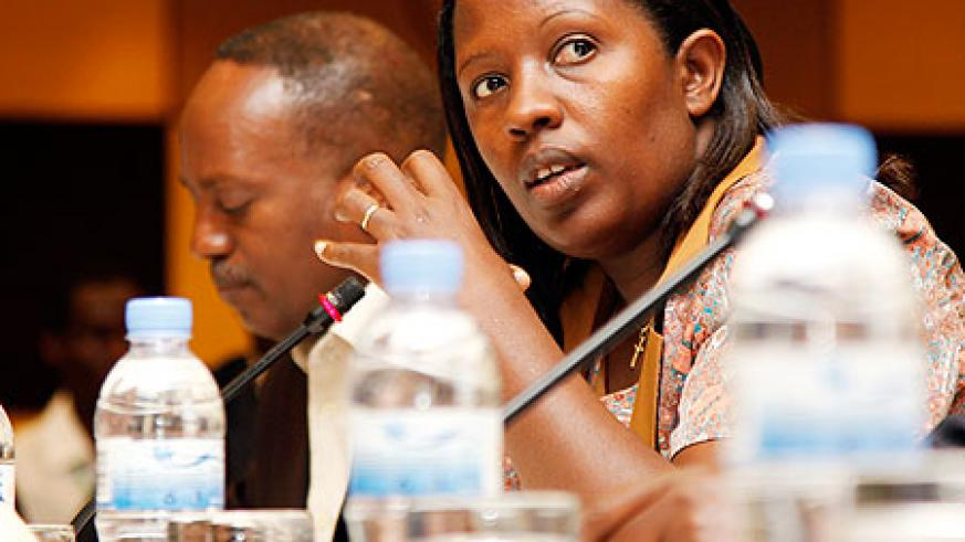 Governor Odette Uwamariya of Eastern Province makes an observation during the dialogue yesterday in Kigali. The New Times / Timothy Kisambira.