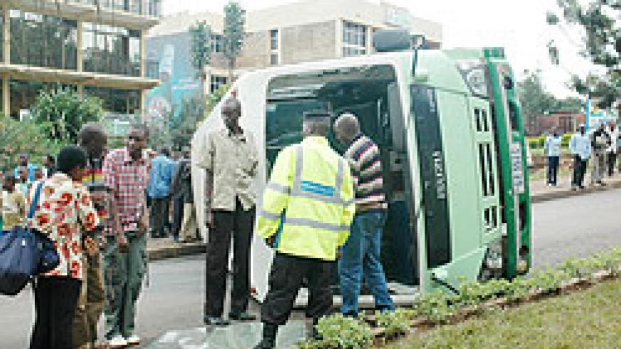 An accident scene in Kigali. A police report indicates that road accidents reduced by 16 percent. The New Times / File.