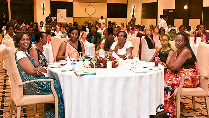 First Lady, Mrs  Jeannette Kagame (3rd left) with senior women leaders  at the launch of Rwanda Women Leaders Network on Saturday. The New Times / Gaby Dusabe.