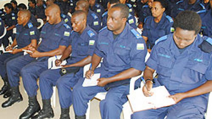 CID Officers undergoing training. The New Times / courtesy