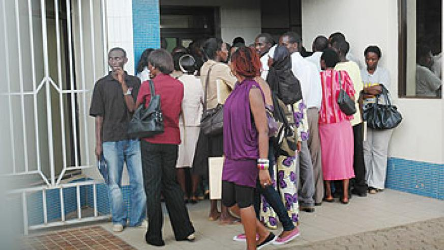 Job applicants waiting to be interviewed. The New Times / File.