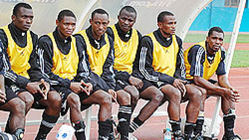 Striker Emmanuel Sebanani (2nd from left) is reported to have hang up his playing boots at only 22 years of age. The New Times / File.