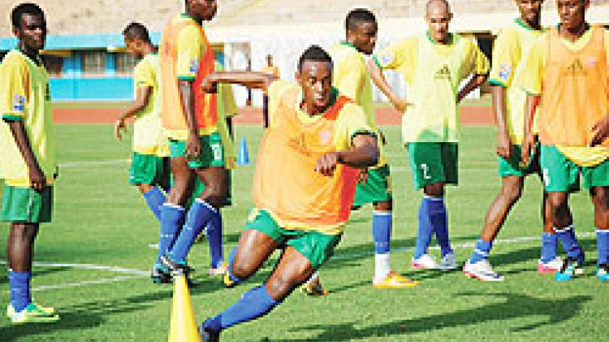 Rwandan Team of Professional Players in  training on Friday. The New Times/ E. Niyonshuti.