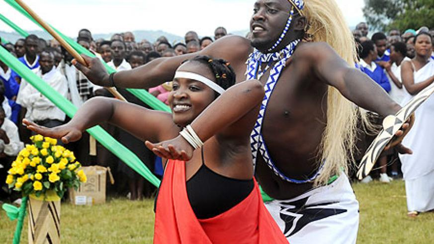A cultural dancing troupe. Rwandan Youth have been called upon to embrace cultural values. The New Times / J.Mbanda.