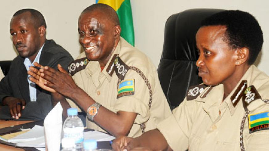 FRONT (L-R) Anastase Nabahire, a commissioner in RCS, Prisons boss Paul Rwarakabije and his Deputy Mary Gahonzire during the news conference yesterday. The New Times / J. Mbanda