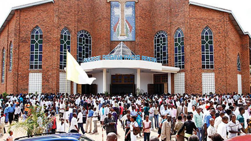 Some of the Christians who  turned up for the New Year prayers  at Paroisse Regina Pacis Remera.