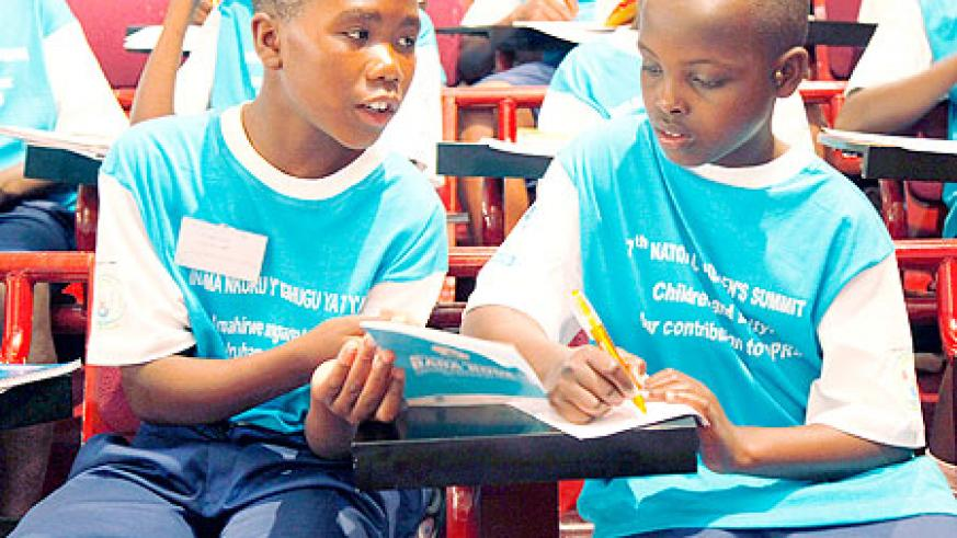 Some of the children attending the 7th Children's Summit that opened yesterday. The New Times / T. Kisambira