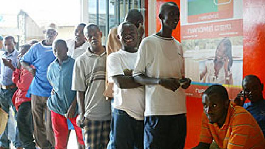Clients lining up to access Rwandatel's services