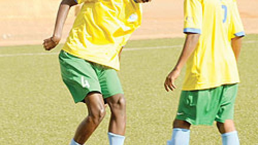 Faustin Usengimana (left) training with team mates as the U-17 team prepared to compete in the Fifa World Cup last year. The New Times/File.