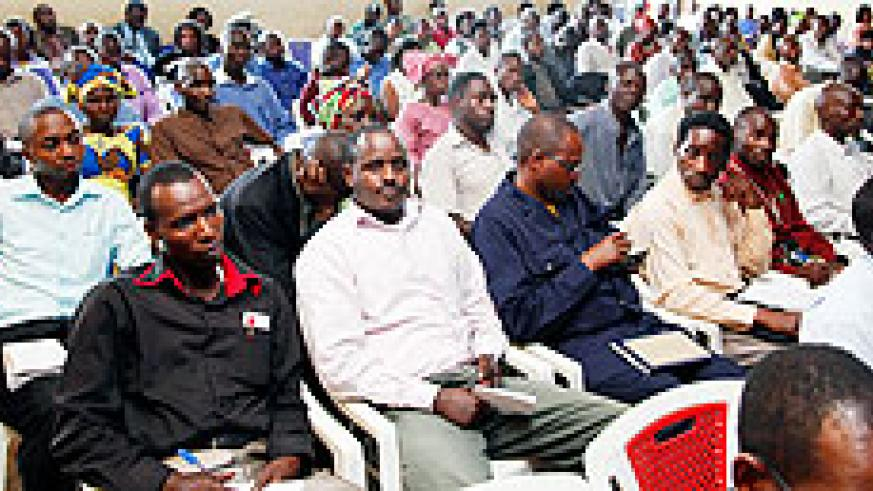 Teachers during a general assembly for Umwalimu Sacco. The cooperative will soon increase its presence in the country. The New Times / File.