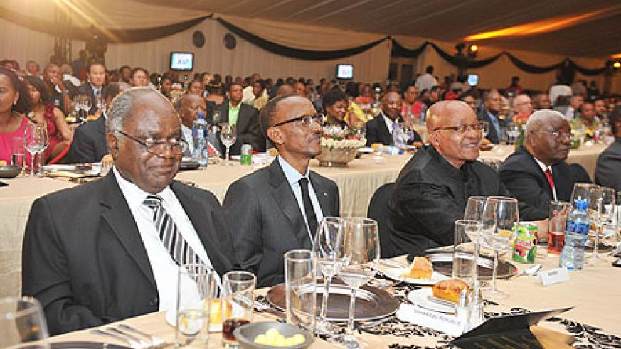 L-R: President Hifikepunye Pohamba of Namibia, President Kagame and Jacob Zuma of South Africa at a gala dinner in Bloemfontein as part of ANC centenary celebrations.  The New Times / Village Urugwiro.