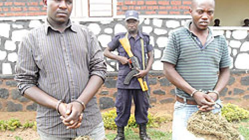 Jean Nshimiyimana and Emile Gashirabake under police guard after they were arrested with several kilograms of cannabis. The New Times / Stephen Rwembeho.