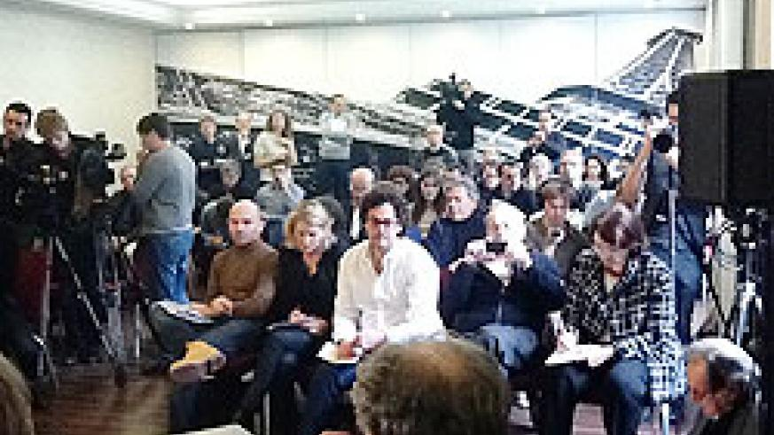 Journalists during yesterday's news conference in Paris about the findings of the Trevidic Inquiry.