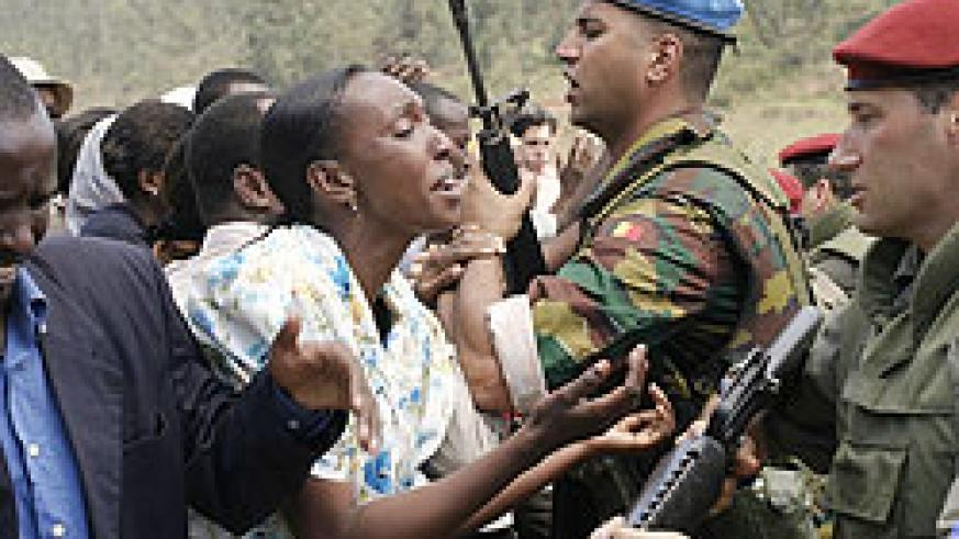 A scene in a Genocide movie about the abandonment of refugees by Belgian UN peacekeepers. A Belgian lawyer has sued his country's army of  leaving Tutsis at the mercy of the Interahamwe militia.