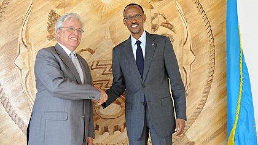 President Kagame with Dr. Joan Clos, the Executive Director of UN Habitat after their meeting yesterday in Kigali. The New Times / Village Urugwiro.