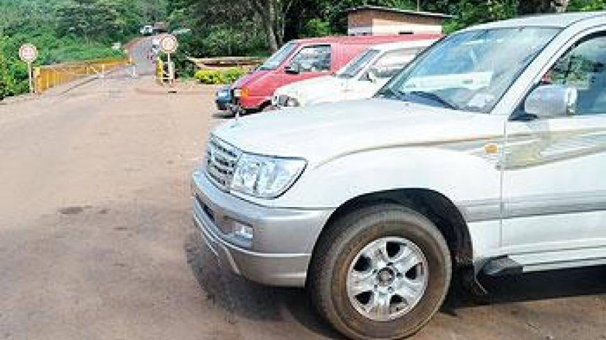 Cars await clearance at Rusumo border post near Tanzania