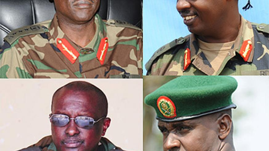 CW: Gen. Fred Ibingira, Wilson Gumisiriza, Richard Rutatina and Col. Dan Munyuza. The New Times / File