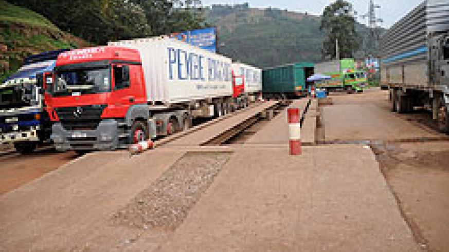 Trucks at Gatuna border post. Rwanda and Uganda are moving to eliminate Non Tarrif Barriers.