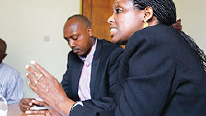 Dr Agnes Kalibata, the  Minister of Agriculture (R),  with Permanent Secretary  Ernest Ruzindaza, at a news conference yesterday. The New Times / T. Kisambira
