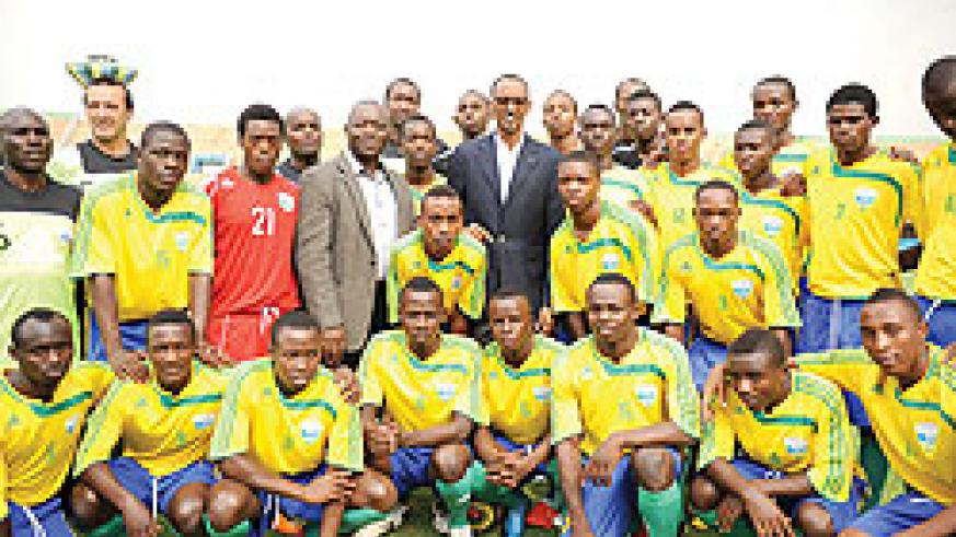 President Kagame met with the U17 national team at Amahoro Stadium on Wednesday during filming for an upcoming documentary that follows the team's journey to the 2011 World Cup in Mexico. The New Times / Village Urugwiro.