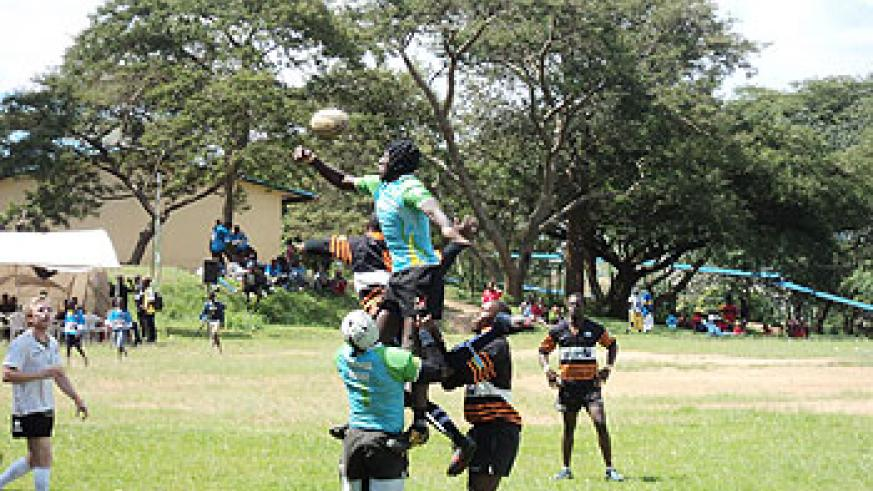 Buffaloes contest a line out in an earlier tournament.