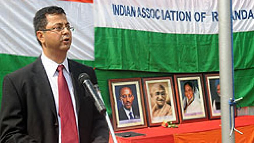 Chairman of the Indian Community in Rwanda Dinesh Kalyani delivers a speech to mark India's National day yesterday. The New Times/J. Mbanda.
