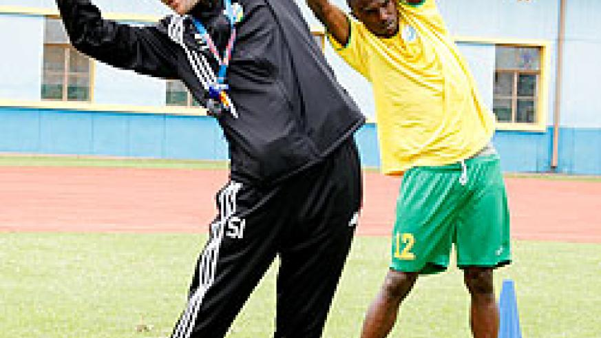 Amavubi coach Micho (L) expects a more clinical display from the wasps this afternoon.The New Times / T. Kisambira