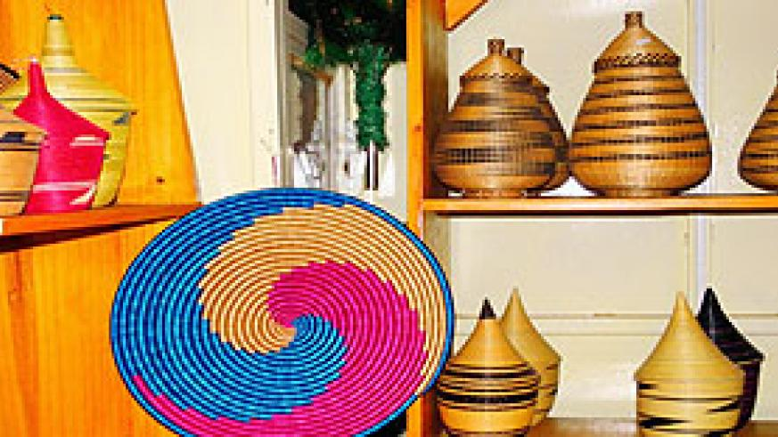 A display of Rwandan - made products in one of Agaseke Crafts shops in downtown Kigali. The New Times / Andrew Israel Kazibwe